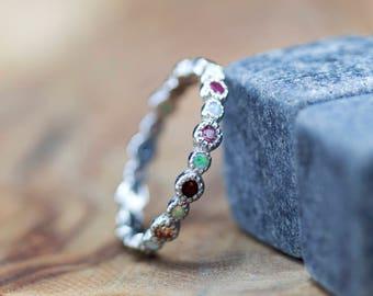 Eternity ring Alternating White opal and Sapphire, Ruby, Garnet, Peridot, Onyx, Pink Sapphire, Tourmaline