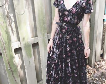 Vintage black floral velvet maxi dress