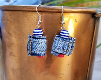 One of a Kind Earrings Made with Blue & White Beads and Recycled Denim Jeans Nubs from the Hem of Jeans