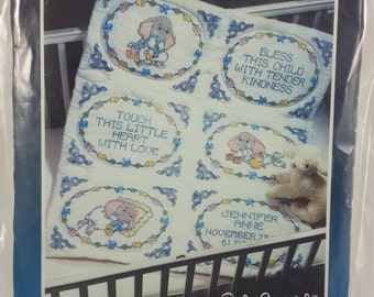 "Bucilla Stamped Baby Quilt Blocks,  Special Edition, "" Baby Snoozle"""