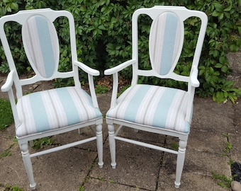 Carver Dining Chairs Shabby Chic Restored with Annie Sloan Old White Chalk Paint