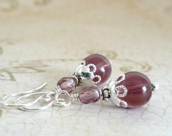 Plum Earrings, Amethyst Glass Bead Dangles, Bridesmaid Earrings, Bridesmaid Jewelry, Plum Vintage Style Earrings, Amethyst Wedding Jewelry
