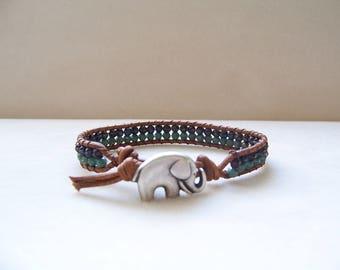Turquoise Elephant Single Wrap Beaded Leather Bracelet, Elephant Bracelet, Elephant Jewelry, Leather Jewelry, Elephant Lover Gift