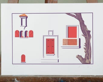 Alberto Bali silkscreen, Hossegor, France, signed and numbered, 84 on 150