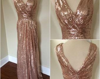 Sequin Bridesmaid Dress / Rose Gold Bridesmaid Dress / 'Rosie' / Junior Bridesmaid Dress / Rose Gold Sequin Dress / Wedding Party / Blush