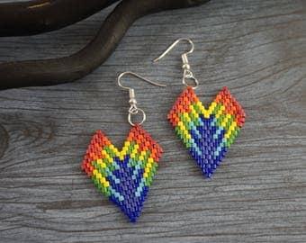 Rainbow Heart earrings Rainbow earrings Beaded earrings Beaded hearts Rainbow hearts Delica earrings Delica Seed bead earrings sweetheart