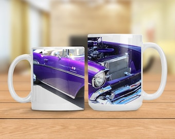 Vintage Chevy Convertible Mug, Vintage Purple Chevrolet Car Cup, Classic Automobile Mug, Man Cave Gift Idea, Gift for Dad Grandfather