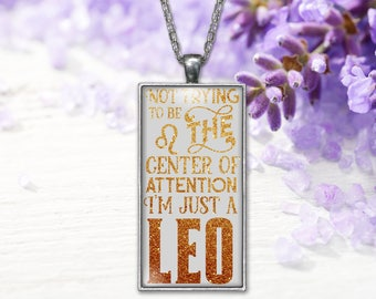 Leo Zodiac Pendant  Horoscope Word Print Jewelry Necklace, Keepsake Gift for Her, Birthday Anniversary Present, Gifts for Her or Him
