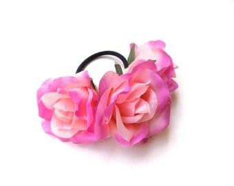 Light pink rose bun wrap, floral bun crown on elastic band, hippie floral hair accessory