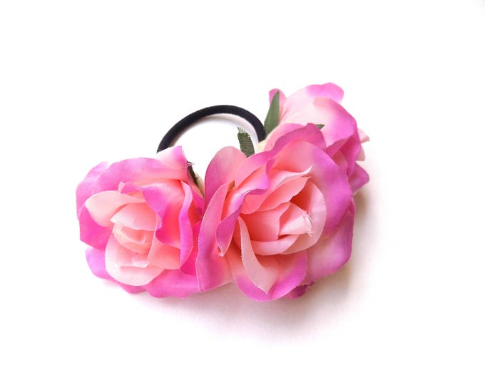 Light pink rose bun wrap, floral bun crown on elastic band, hippie floral hair accessory