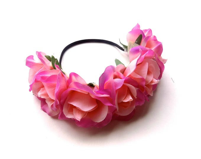 Rose goddess flower crown, elastic flower crown headband with beautiful pink roses