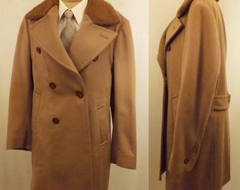 60s Vintage Men's All Wool Coat Faux Fur Collar Fully Lined Size M