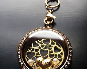 Mom Floating Locket Necklace-Gold Stainless Steel-Great Gift Idea
