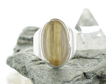 Rutile Quartz silver ring. Size 6. Natural Stone. Gemstone ring. Golden Rutile silver jewel. Ring size L 1/2.Inclusions Quartz Ring.apsarasV