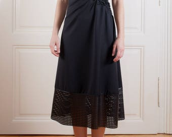 hand smocking dress/ casual dress/ unique dress/ romantic dress/ leather detail dress