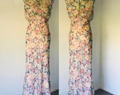 Vintage 30's Silk Chiffon Bias Cut Dress Slip wrap l M