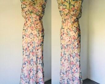 Vintage 30's Silk Chiffon Bias Cut Dress Slip wrap l S