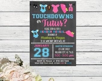 Touchdowns or Tutus Gender Reveal Invite- CHALKBOARD***Digital File*** (Baby-TouchCHLK)