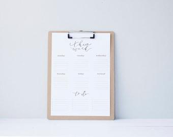 Weekly To Do List Organization - Printable Calendar - simple.rustic.minimal.watercolor.