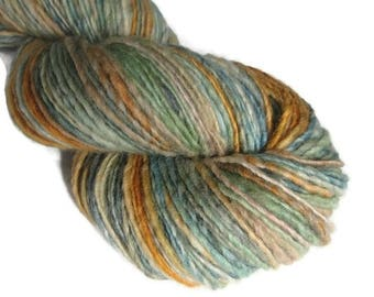 Hand dyed and hand spun single ply worsted weight yarn, 175 yards