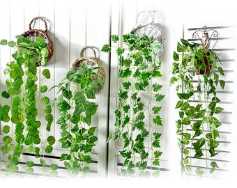 Small Basket + Artificial Vines, Ivy Leaf - Hanging Plants - Garland Fake Foliage - Wedding, Party, Banquets Decors