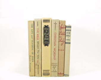 Tan Books, Spiritual Decorative Books, Religious Old Book Decor, Vintage Book Collection, BOok Set, Christian BOoks, Theology BOoks, Bible