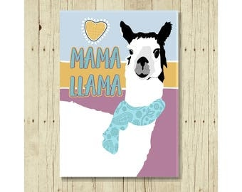 Mama Llama Refrigerator Magnet, Funny, Gift for Mom, Cute, Gifts Under 10, Mother, Animal, Purple, Graphic Art, Mother's Day