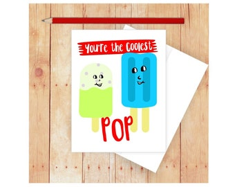 Funny Father's Day Card, Dad, Daddy and Son, Dad and Daughter, Blank Greeting Card, Ice Pop, Colorful, Puns, Punny, You're The Coolest Pop