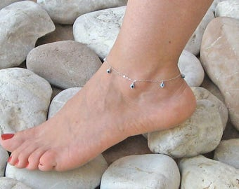 Evil Eye Anklet, Evil Eye Ankle Bracelet, 14k Gold Fill or 925 Sterling Silver, Dangle Anklet, Beach Anklet, Greek Evil Eye, Gift Under 25