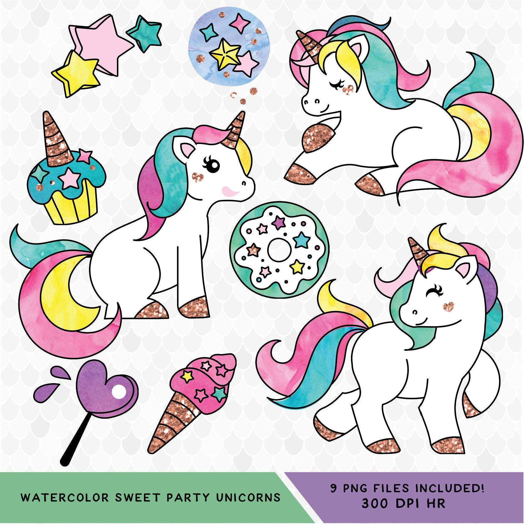 kawaii unicorn clipart  unicorn clipart  watercolor clipart  kawaii clipart  unicorn party fairytale clipart border free fairytale clipart border free