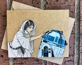 Star Wars - Princess Leia and R2D2 Comic Book Greeting Card (Blank)