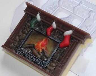 Christmas Fireplace mold, soap mold, bath bomb mold, new year mould, plastic mold, chocolate mold, Christmas socks, sock, santa, rectangular