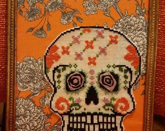 Sugar Skull on Orange Floral Background - Framed