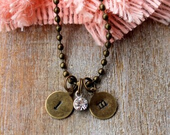 Personalized Hand Stamped Initial Necklace, Love, Valentine's Day, Anniversary, Gift for Her, Initial Charm Necklace, Custom Made
