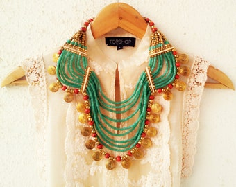 Green Bohemian Necklace/Statement Necklace/African Necklace/Beaded Jewelry/Mint Green Chunky Necklace/Tribal Necklace/Gold Necklace
