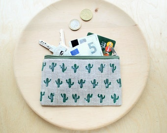 Cactus coin purse Cactus pouch Linen zipper pouch Cactus purse Credit cards case Makeup bag Linen purse Eco-friendly gift For her For girl
