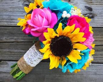 Sunflower Bouquet, Summer Bouquet, Fuchsia And Turquoise Bouquet, Hot Pink Sunflower Bouquet, Bridal Bouquet