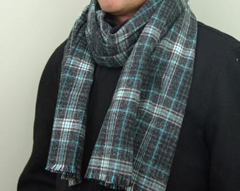 Plaid 100% Cotton Scarf in Gray, Turquoise and White , Flannel Scarf, Tartan Scarf