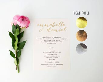 annabelle gold foil wedding programs  // gold foil / rose gold foil / silver foil / modern calligraphy custom luxe romantic wedding program