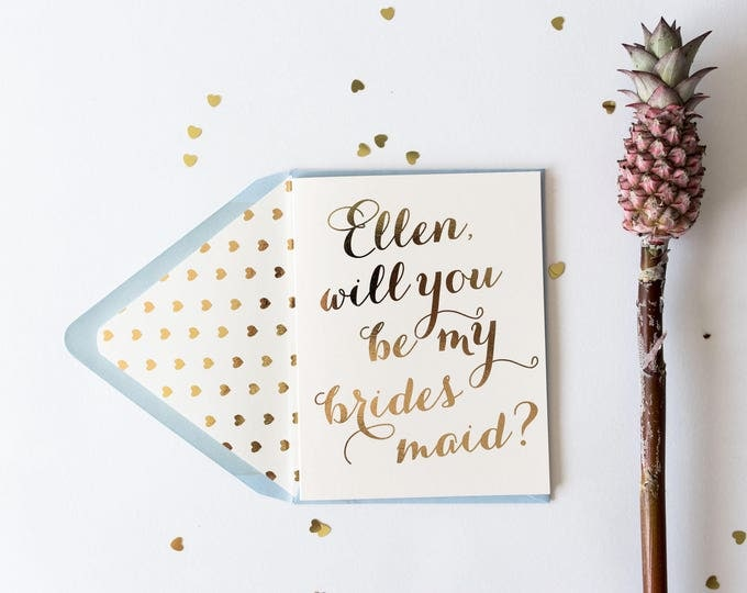 personalized gold / rose gold foil will you be my bridesmaid cards + lined envelopes  // lola louie paperie