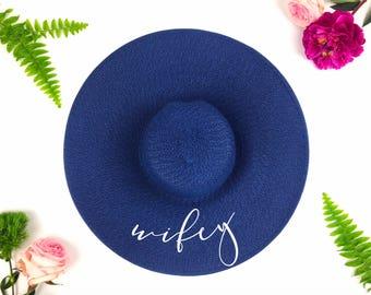 Floppy Sun Hat - Sequin Sun Hat - Bride Hat - Wifey hat - Custom floppy hat - Bride to be hat - Beach Bride - Just Married Hat - Honeymoon