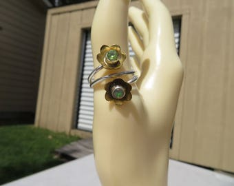 Handcrafted Natural Ethiopian Opal & Peridot Flower 14KT Gold/925 Sterling Silver Ring Size 7, Weight 3.9