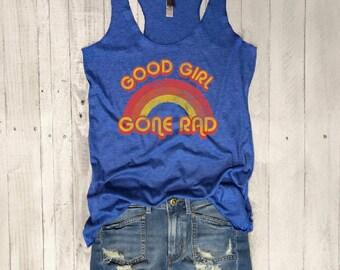 Good Girl Gone Rad...Retro Graphic, Workout Tank, Workout Top, Yoga Tank,Yoga Top,Graphic tee,Yoga Vest,Yoga Tank, Funny Shirt, Vintage, 70s
