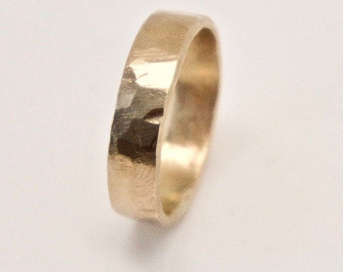 Hammered Gold Ring - 9 Carat Yellow Gold