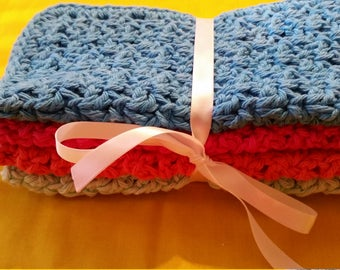 "CROCHETED COTTON WASHCLOTHS -Set of Four, Electric Blue, Hot Pink, Coral and Mint Green, 8"" Length, 8"" Width.  On Sale Now!"