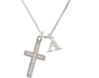 Be Still and Know Necklace,Psalm 46:10,Initial Necklace,Cross Necklace,Psalm 46 10 Jewelry,Bible Verse Necklace,Sympathy Gift,C6597-F1578
