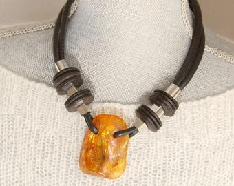 DIFFERENT NECKLACE,modern jewelry,unusual necklace,edgy necklace,contemporary jewelry,amber jewellery,natural Baltic amber,amber necklace