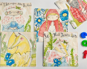 Small Napkins For Kids (Reusable Lunch Napkins, Five Napkin Set, Square Napkins, Little Red Riding Hood, Cotton Napkins, Children's Story)