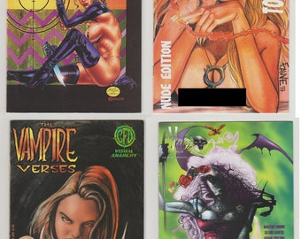Gothic Erotic 4 Comic Book Lot: Babylon Crush, Vampfire, The Vampire Verses, Verotika.  NM (9.2 - 9.4) Range. Various Publishers