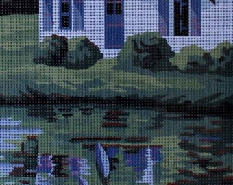 Needlepoint tapestry kit, HOUSE on the LAKE, 25 x 60 cm, H055